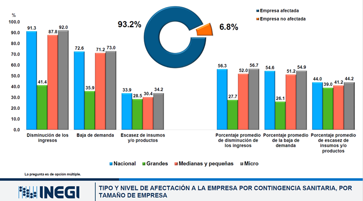 Tipo de afectación a la empresa por contingencia sanitaria en comparación con el mes de marzo del 2020, por tamaño de empresa
