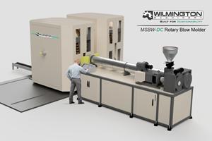 Máquina de moldeo por soplado giratoria dual MSBW60-DC, de Wilmington Machinery.