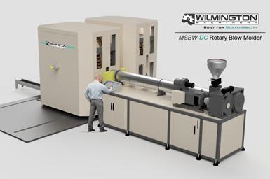Máquina de moldeo por soplado giratoria dual MSBW60-DC, de Wilmington Machinery .