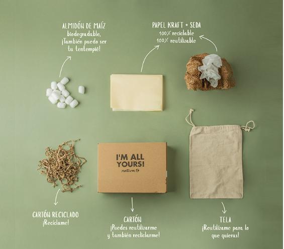 Natura ya utiliza materiales reciclados y reciclablesen todos los empaques de sus ventas en línea.