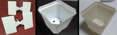 Figura 2. Piezas y accesorios plásticos de mezclas de almidón con otras resinas poliméricas.