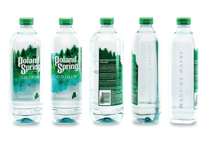 La marca de agua de Nestlé, Poland Spring, lanzó una línea de botellas fabricadas con plástico 100 % reciclado apto para contacto con alimentos en 2019.