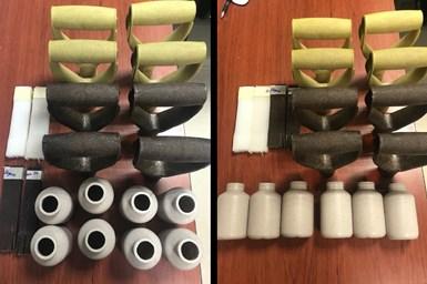 Prototipos y piezas fabricadas con poliolefinas y fibra de agave para la empresa Nuño Camarena.