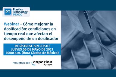 """Webinar""""Cómo mejorar la dosificación: condiciones en tiempo real que afectan el desempeño de un dosificador"""", presentado porCoperion K-Tron."""