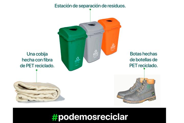 El video más creativo ganará una estación de separación de residuos, una cobija hecha con fibra de PET reciclado y unas botas hechas de botellas de PET reciclado.