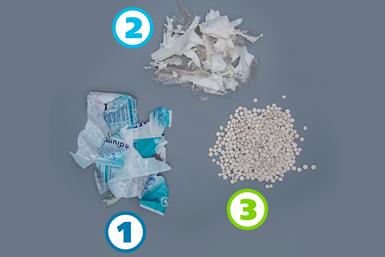 1) Film abundantemente impreso antes de pasar por el proceso de Deinking.2) Film después del proceso de Deinking. 3) Material reciclado después del proceso de extrusión.