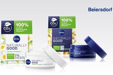 Los envases para las cremas faciales NiveaNaturally Good, de Beiersdorf, están fabricados con resina de polipropileno (PP) de origen biológico de Sabic.