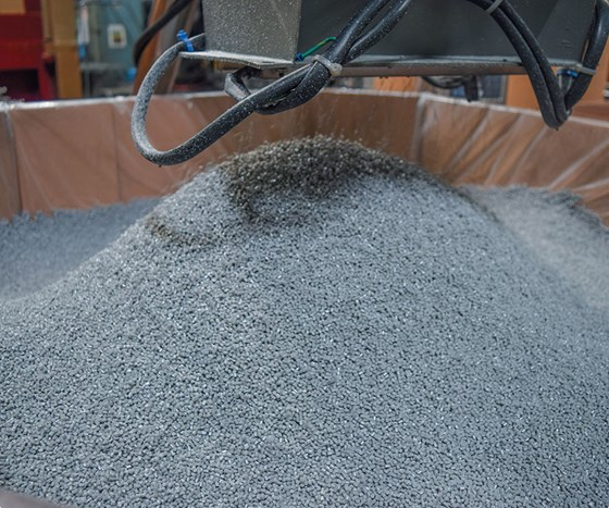 Polymer Resources black and gray compounded pellet.