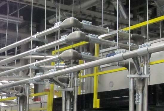 piping and elbow set up at plastic processing plant