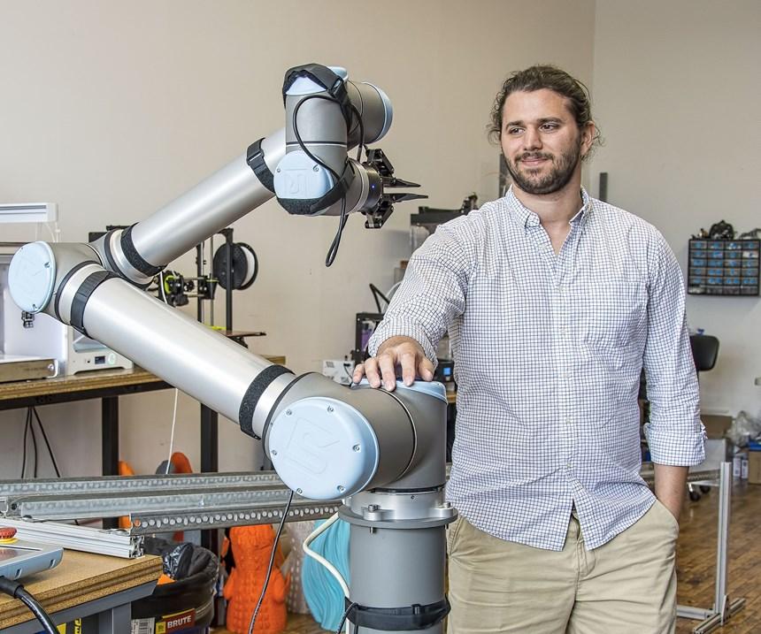Universal Robots collaborative robot serves 3D printers at Voodoo Mfg