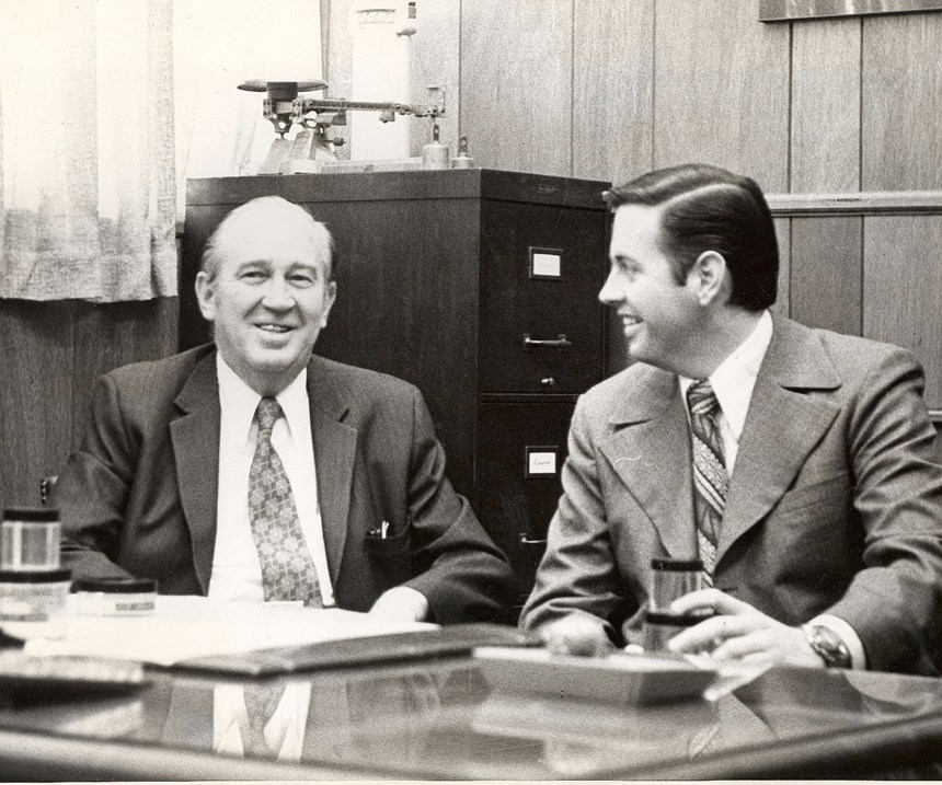 Parkway Plastics founder Edward W. Rowan, Sr. and son
