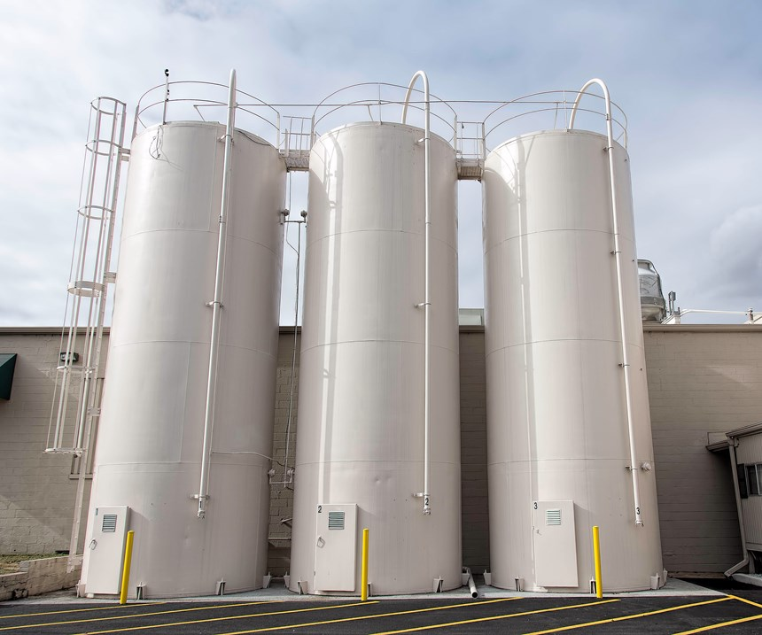 Silos for PP and PS resins at Parkway Plastics