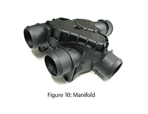 30% glass filled nylon coolant manifold
