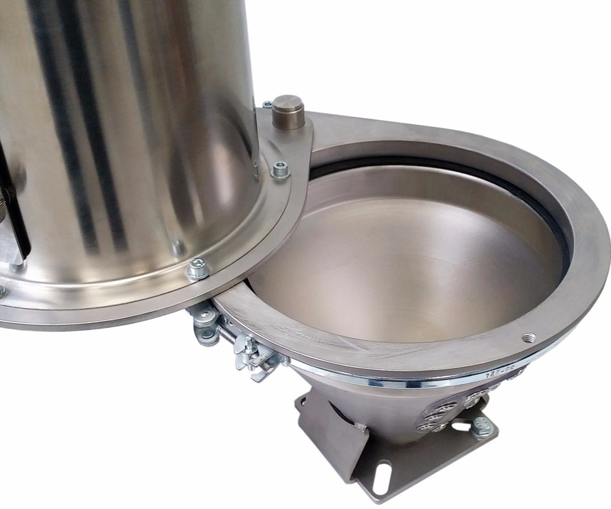 New pivoting lid for Wittmann machine hoppers.