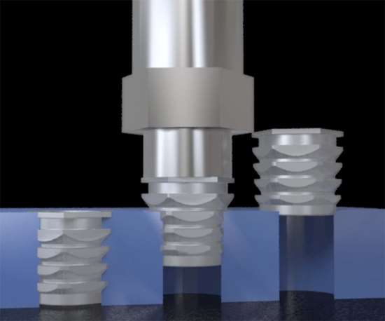 Cold pressed-in inserts can be an economical alternative to thermal or ultrasonic-installed threaded inserts for plastics processors.