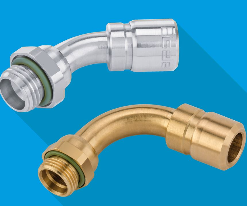 Metal connections with swept screw-in elbows