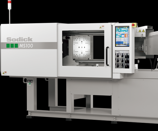 Sodick MS100 all-electric, two-stage injection molding press from Plustech Inc.