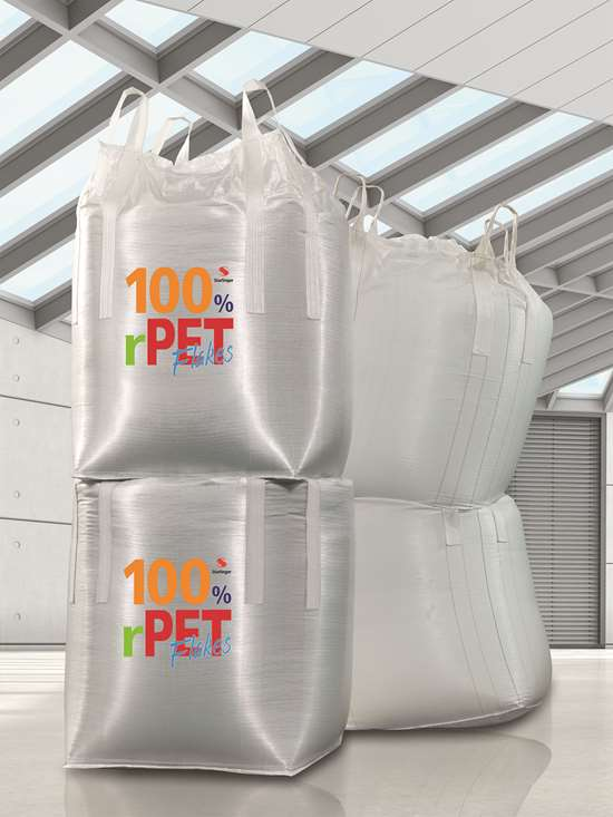 Packaging from rPET flakes