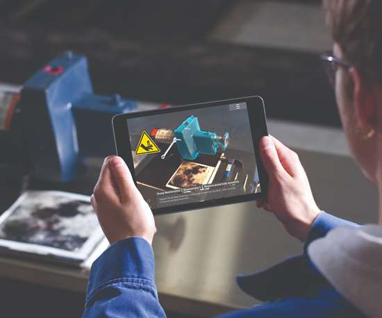 A tablet runs augmented reality software