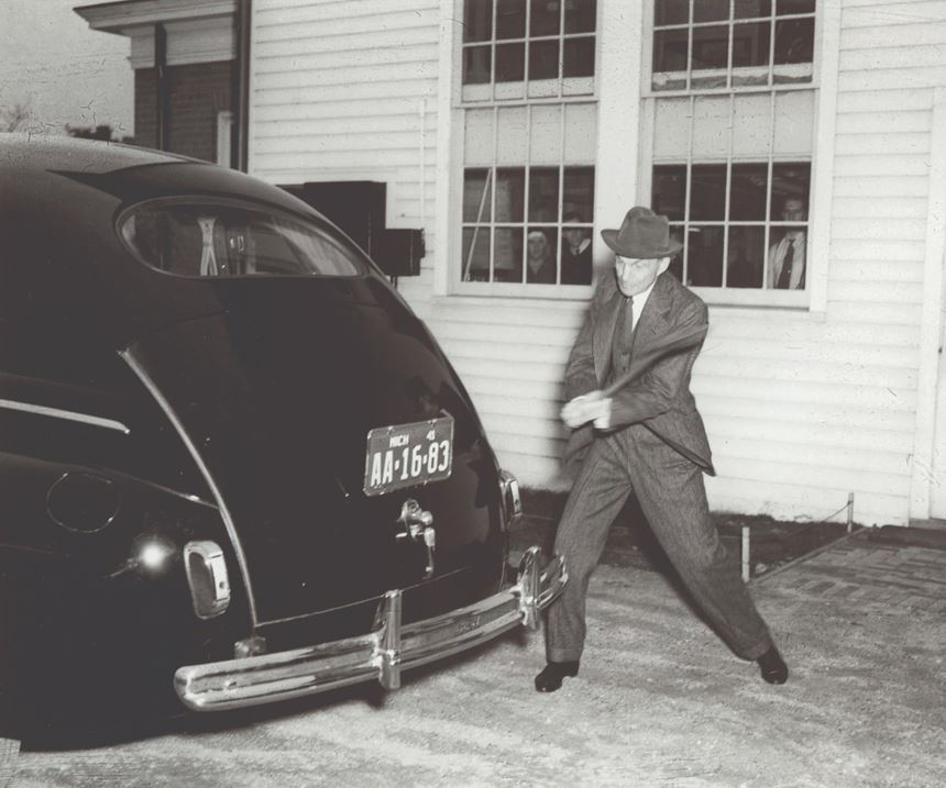 Henry Ford in 1941: He's taking that axe to a plastic panel made with soy oil.