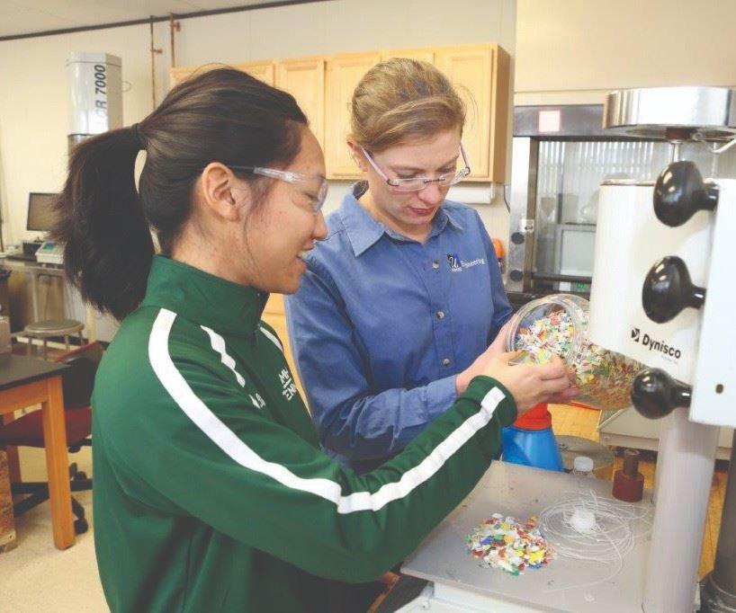Hands-on training in a plastics lab