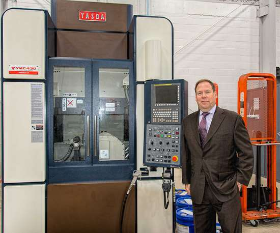 John Hoskins at Choice Tool & Mold with Yasda five-axis milling machine