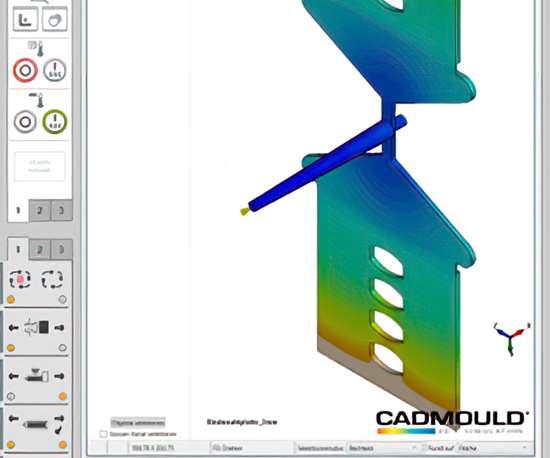 WittmannBattenfelddisplay of Cadmouldfilling simulation on B8 machine control.