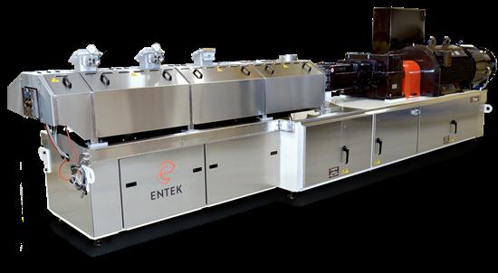 Entek HR3 73-mm corotating compounding extruder.