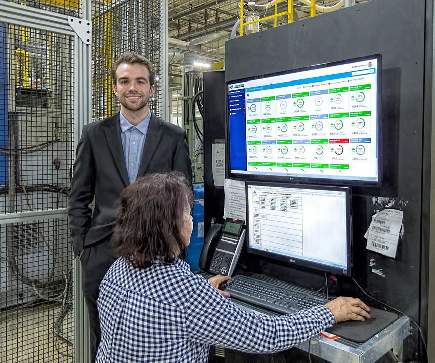 Smart Attend director of sales and marketing Max Preston with the production monitor