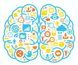 Social media icons inside an illustrated brain