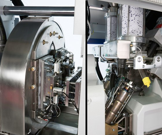 Wittmann Battenfeld MicroPower Combimould two-shot machine and mold