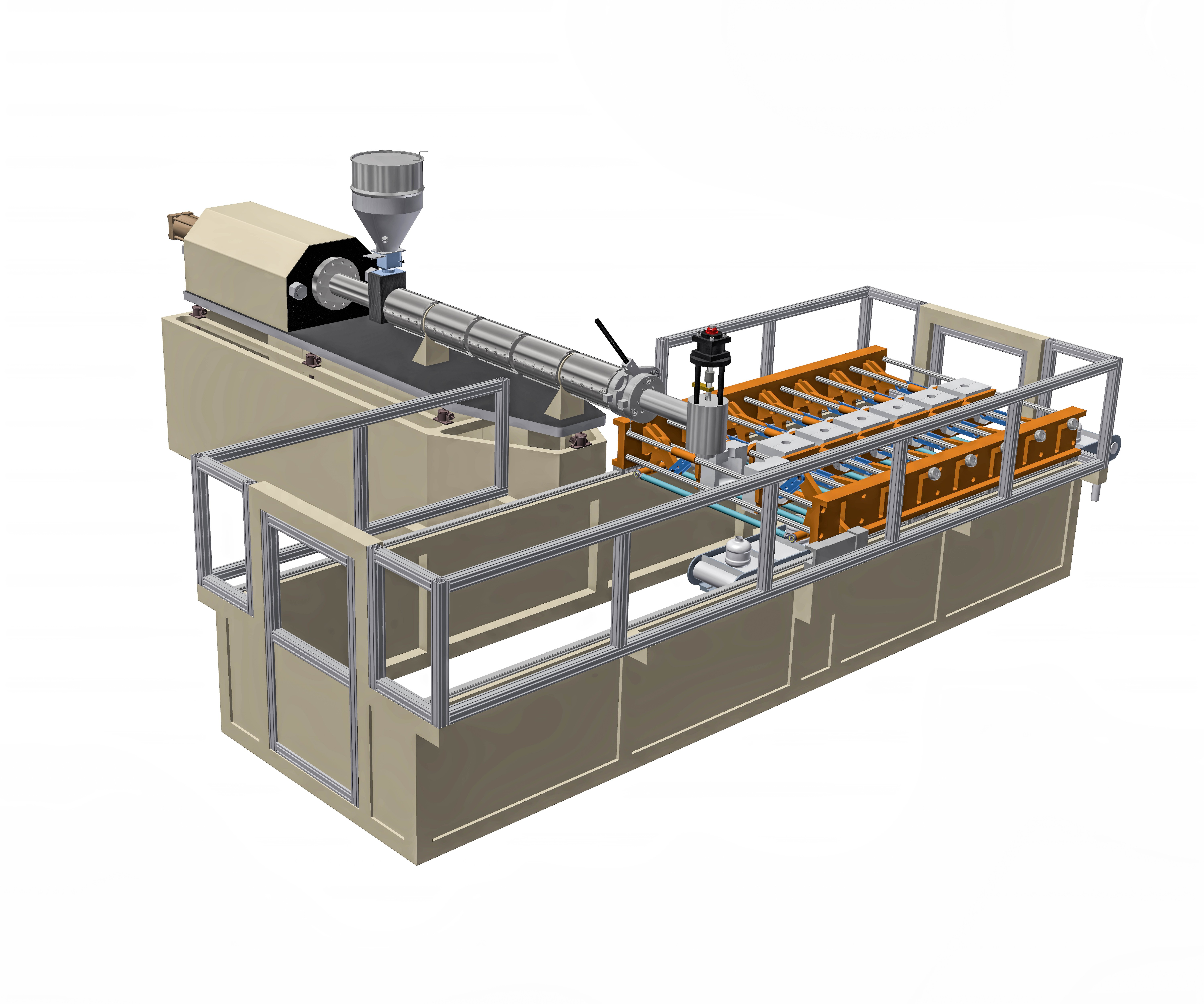Wilmington Inline reciprocating-screw extrusion blow molder with indexing molds.