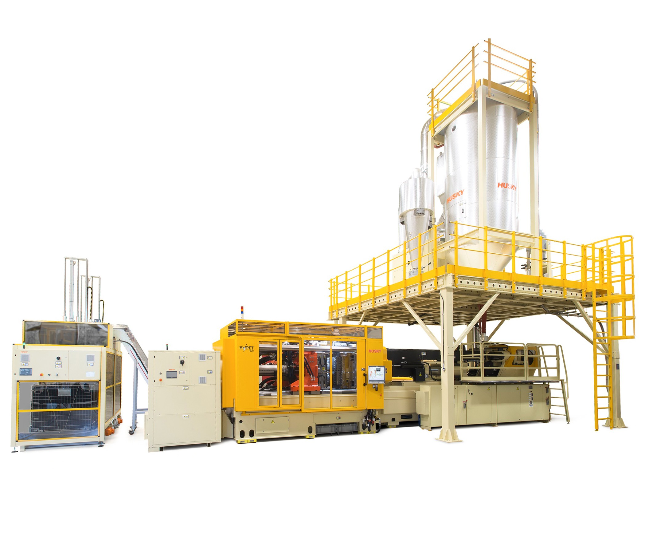 Husky HyPET system for injection molding PET preforms.