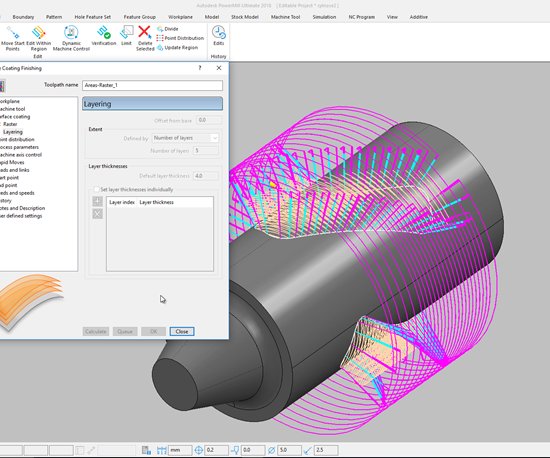 Autodesk Powermill screenshot showing additive processes.