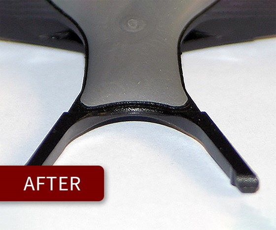 Plastic injection molded part after using vacuum venting to remove outgassing.