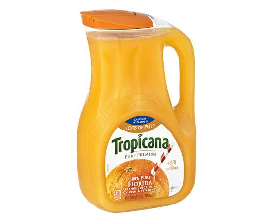 Some EPET applications, like this 89-oz Tropicana orange juice jug, converted from HDPE for greater clarity.