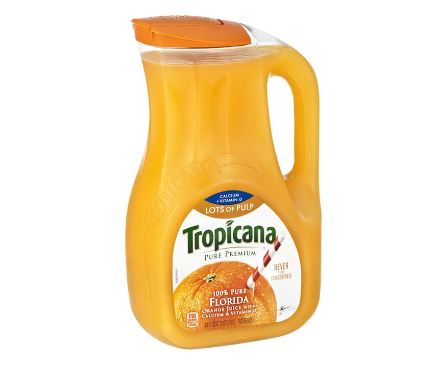 Some EPETapplications, like this 89-oz Tropicana orange juice jug, convertedfrom HDPEfor greater clarity.