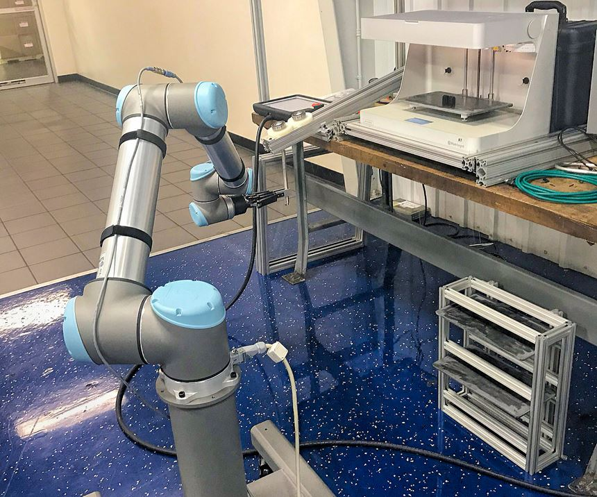 EVCO is applying UR cobots to tasks from insert loading, assembly and packaging to tending its 3D printers, as in this test cell.
