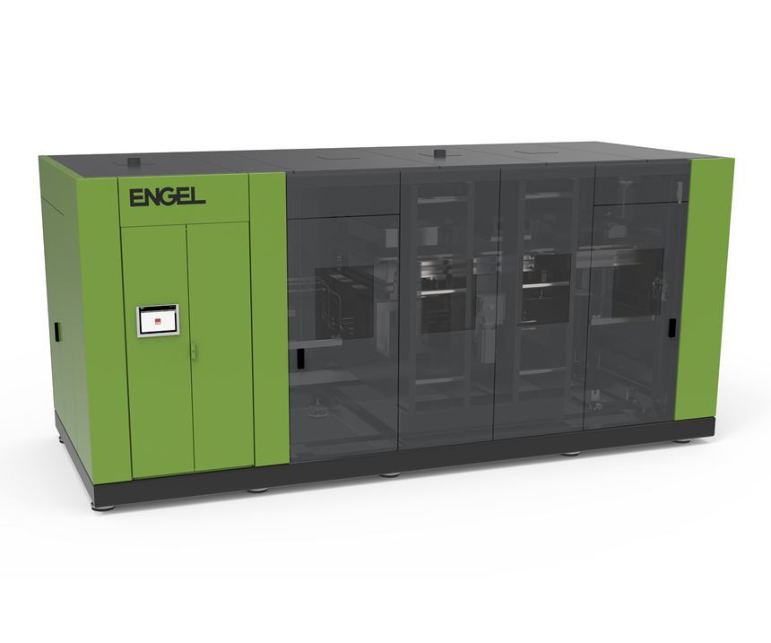 Engel developed this consolidation press for thermoplastic UD tapes.