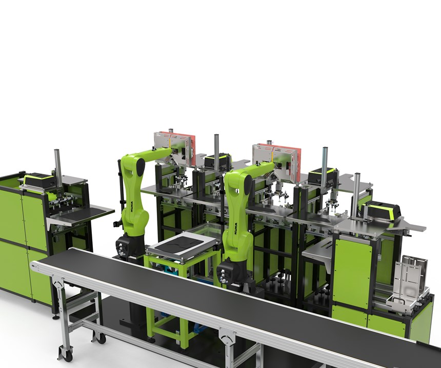 Engel's new robotic stacking system for thermoplastic UD tapes