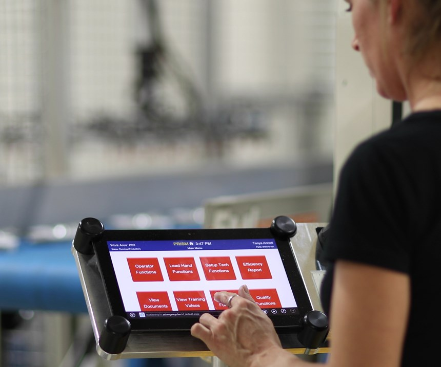 Axiom workers access Prism data on tablets throughout the plant.