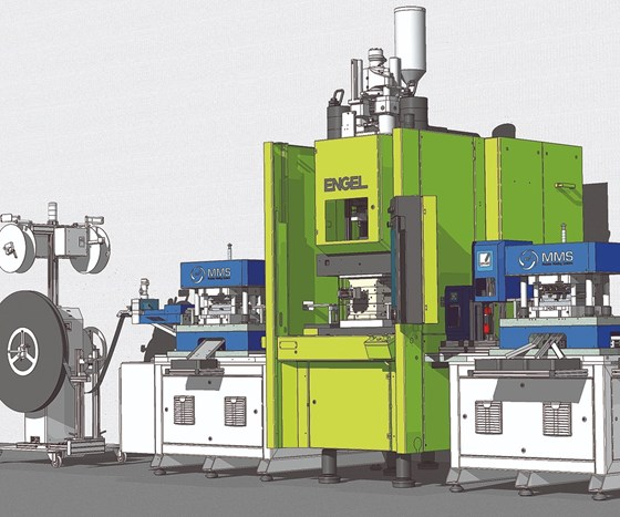 One Engel linear hybrid overmolding cell will run live at NPE2018.