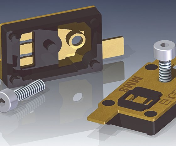 Engel will mold thermal switch housings of glass-filled nylon overmolded on a brass strip at NPE2019