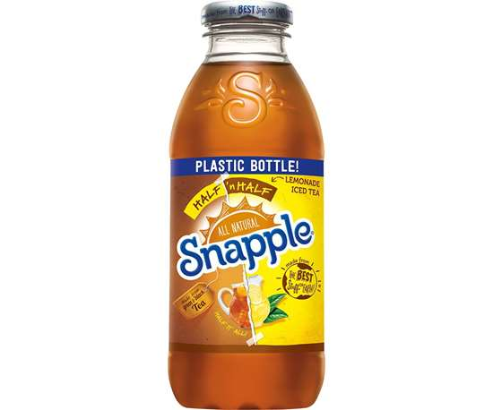 Snapple in stretch-blow molded PET with tool and preform design by R&D/Leverage