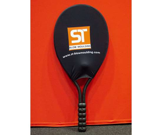 S.T. Blow Moulding's 3D suction blow molding of a sports racket bends parison in 360° turn.