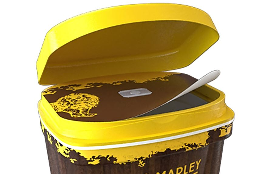 Peelable IML label on hinged lid of injection molded container