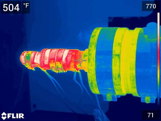 This thermal image shows a failing nozzle-body heater.