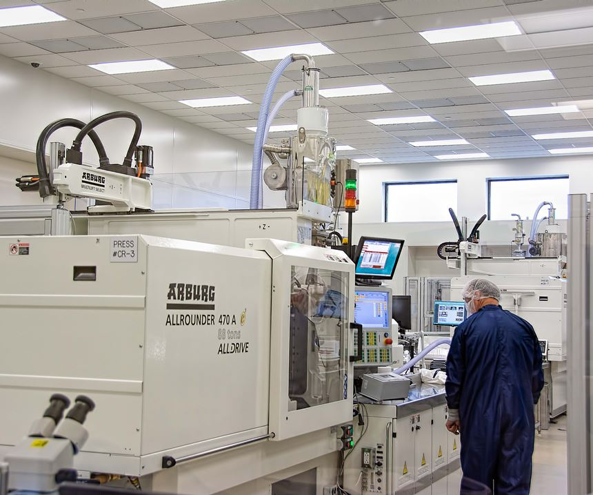 One of eight Arburg all-electric machines in a clean room at Plastikos.