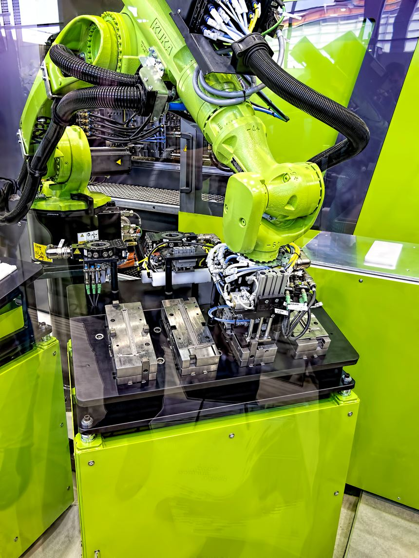 Engel showed automated changeover of mold inserts and robot EOAT.