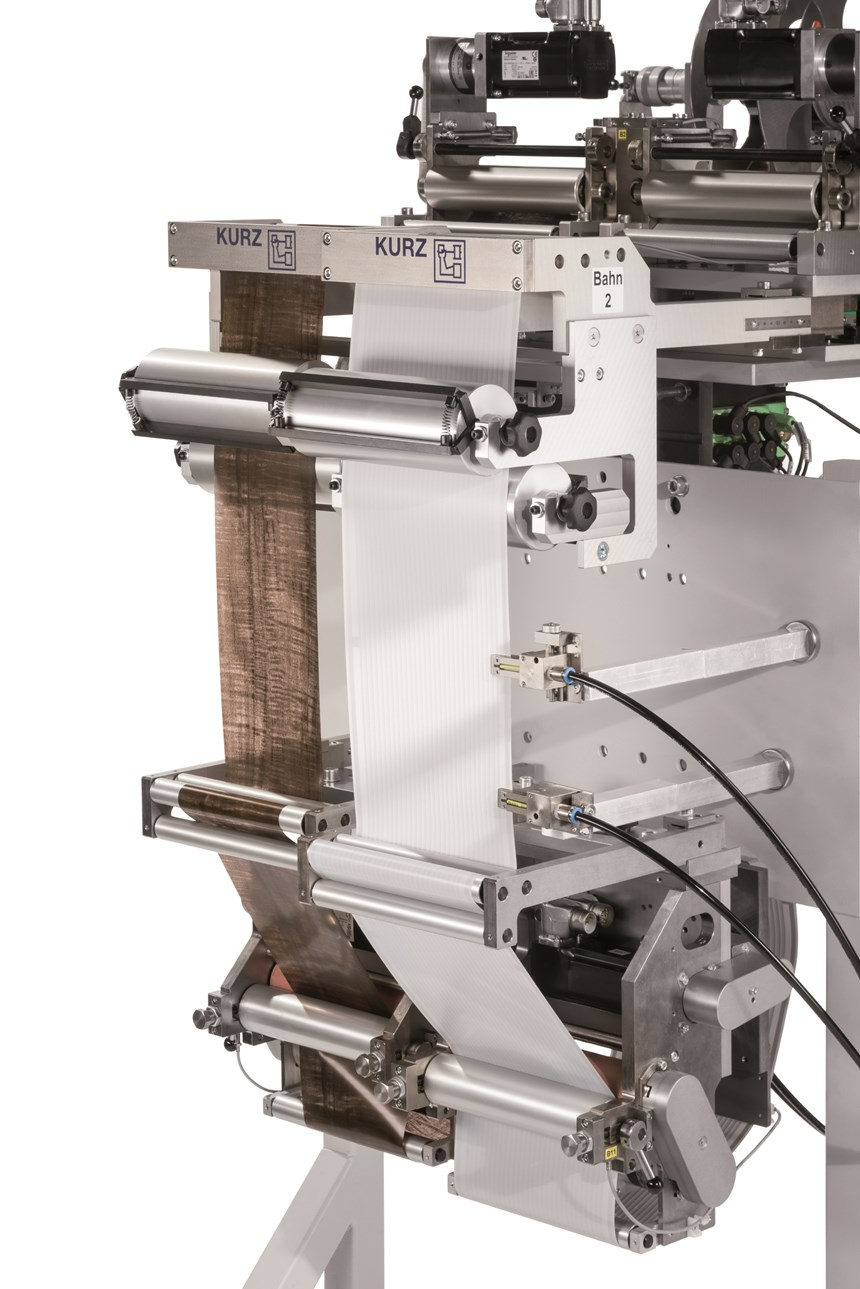 Kurz Duo SI IMD reel-to-reel system feeds two independent single-image foils through a two-cavity mold using servo drives, optical sensors and registration marks on the foils for precise positioning.